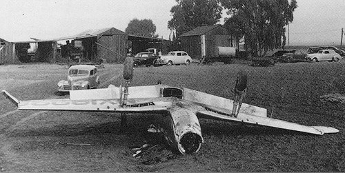 The NA-73X after its crash on November 20, 1940.
